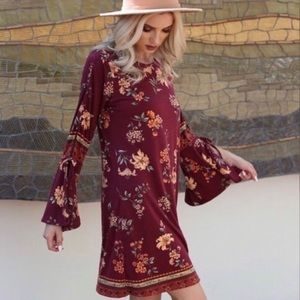 <ALMOST GONE> Angie Floral Bell Sleeve Dress